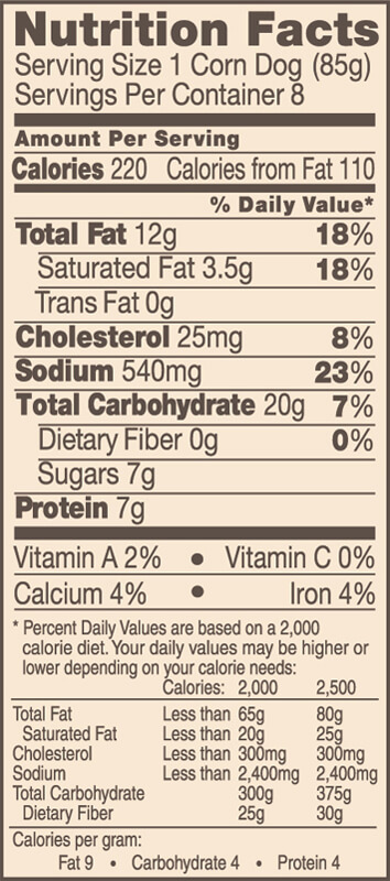 Bar S Hot Dogs Nutrition Facts