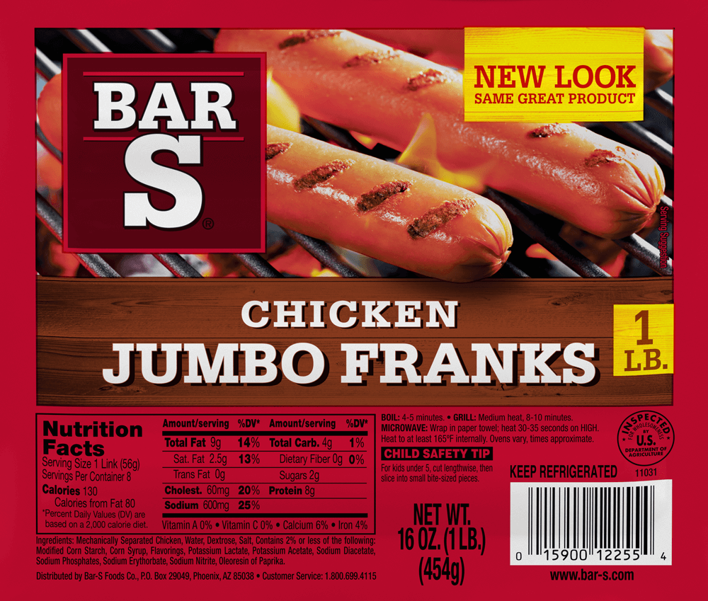 Bar S Beef Hot Dogs Nutrition