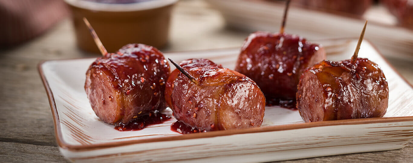 Bacon-Wrapped Kielbasa Bites