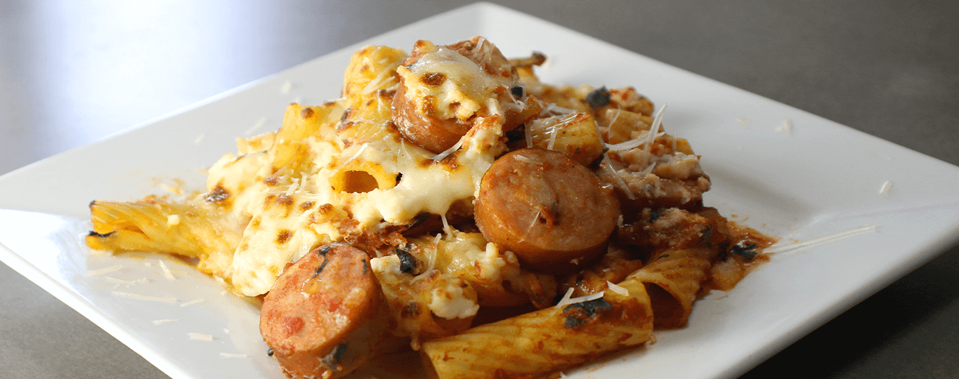 Baked Rigatoni with Spinach and Sausage