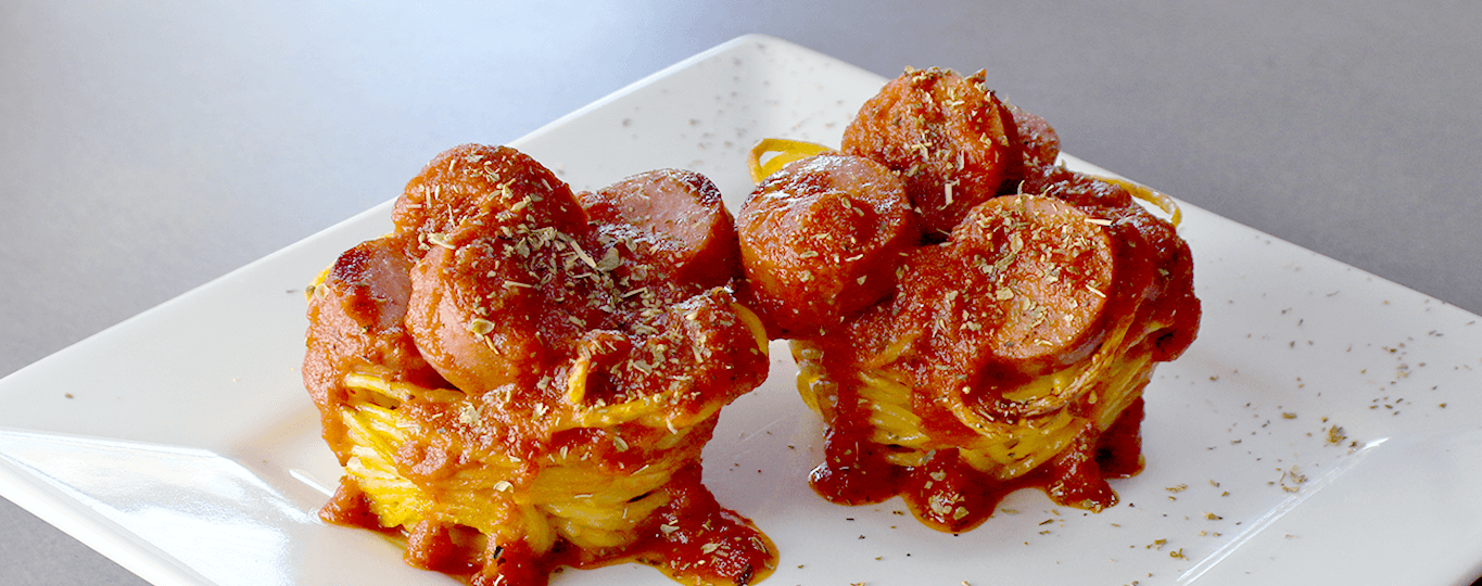Baked Spaghetti Cups with Sausage