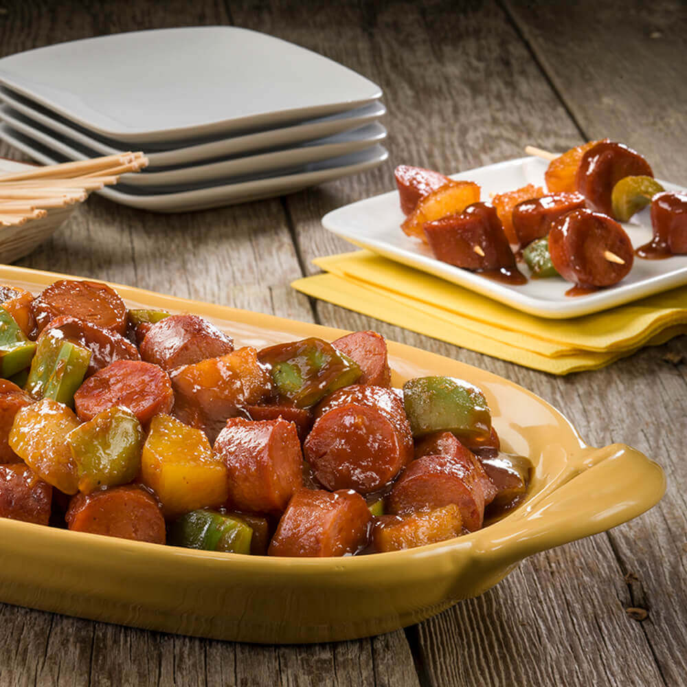 Apple-Barbecue Sausage Skewers