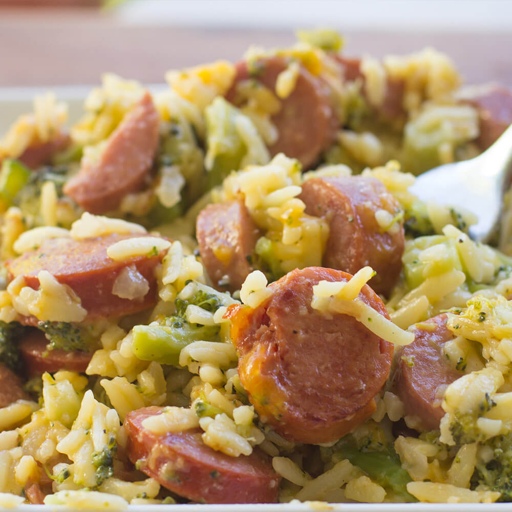 Cheesy Rice with Smoked Sausage and Broccoli Recipe
