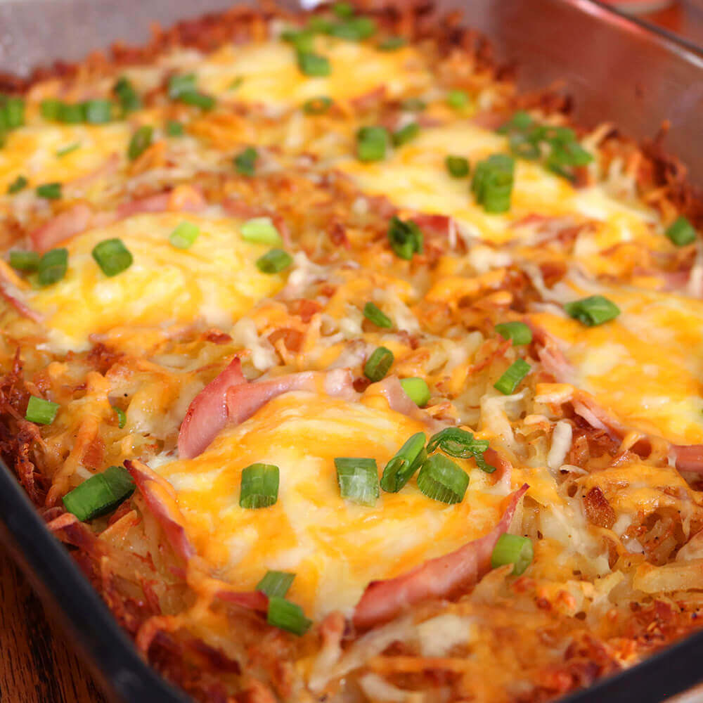 Crispy Cheesy Ham Hash Browns