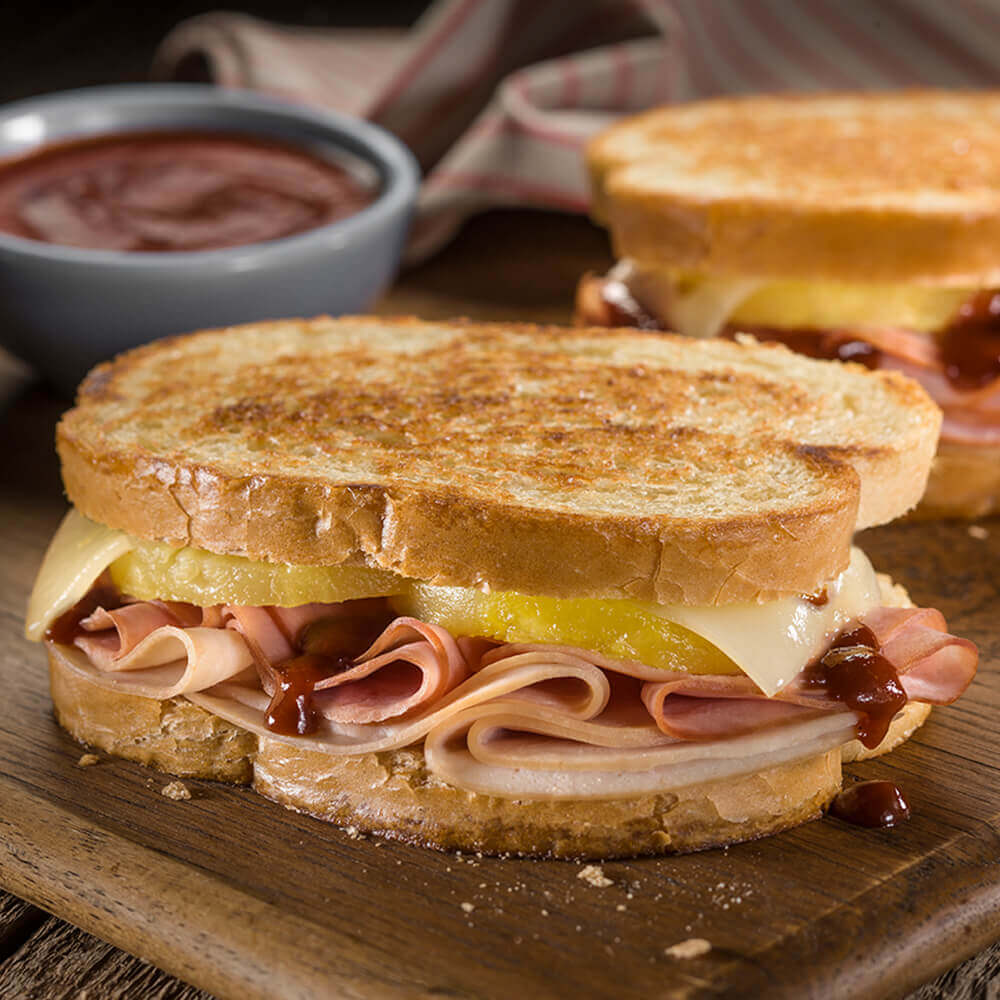 Grilled Hawaiian Ham Turkey And Cheese Sandwiches Bar S Foods
