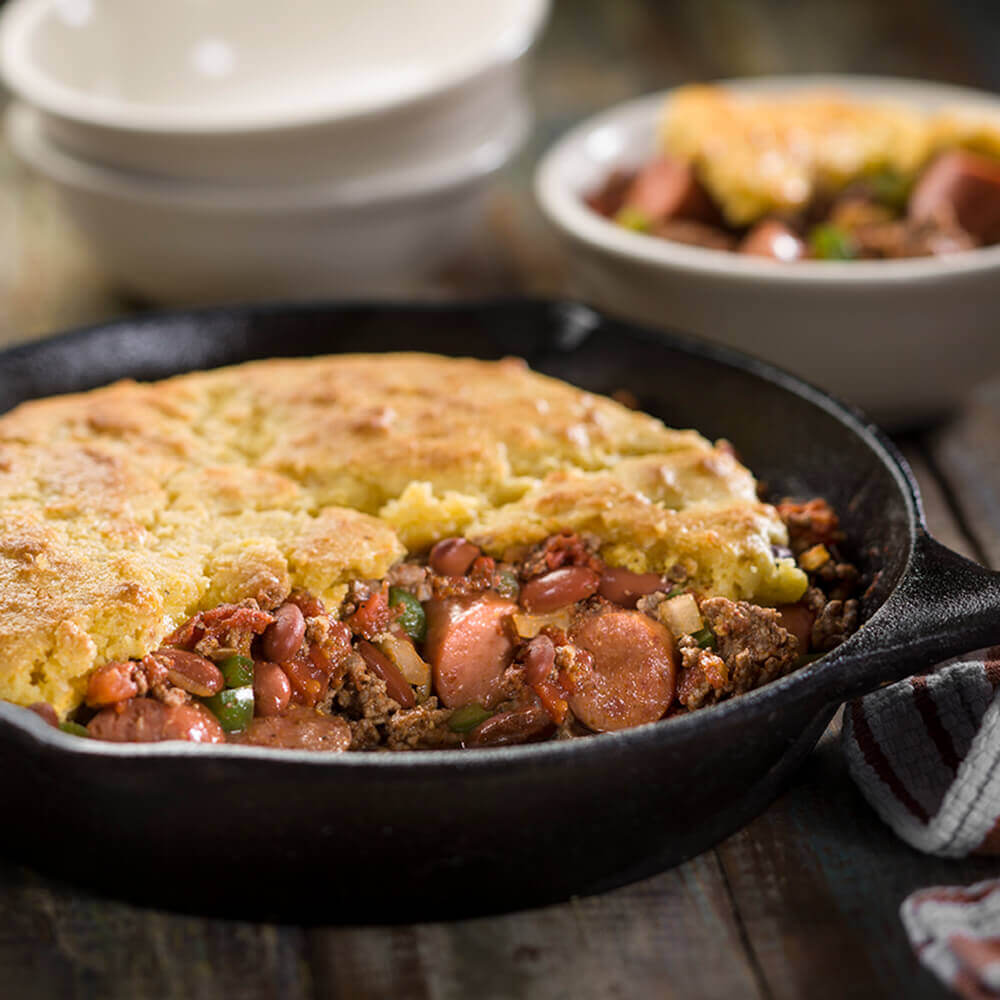 Two Meat Chili Cornbread Pie Recipe Bar S Foods